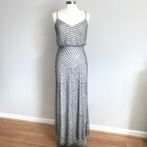 Adrianna Papell Obreanna Art Deco Beaded Dress